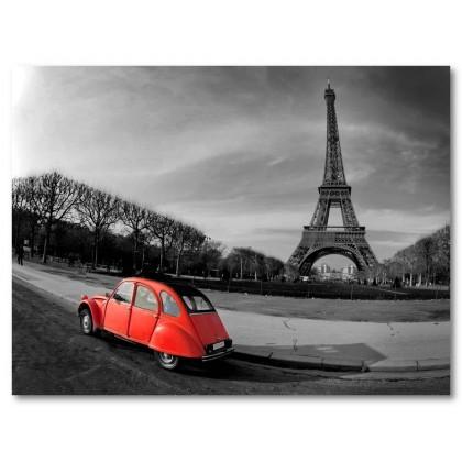 Αφίσα (επιλεκτικός, χρωματισμός, κόκκινος, αυτοκίνητο, Άιφελ, πύργος, μαύρο, λευκό, άσπρο)